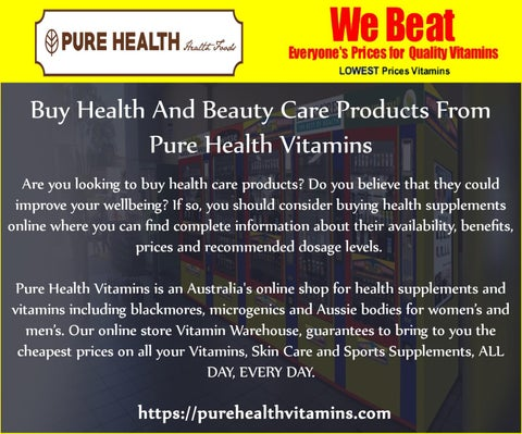 Buy Health And Beauty Care Products From Pure Health