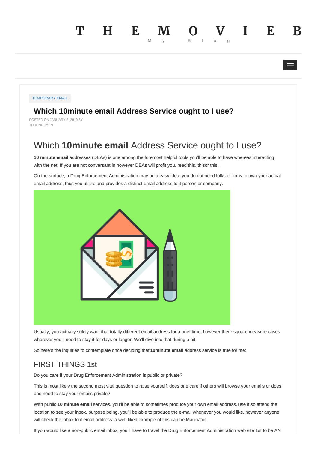 Which 10minute email Address Service ought to I use? by fmail101 - issuu
