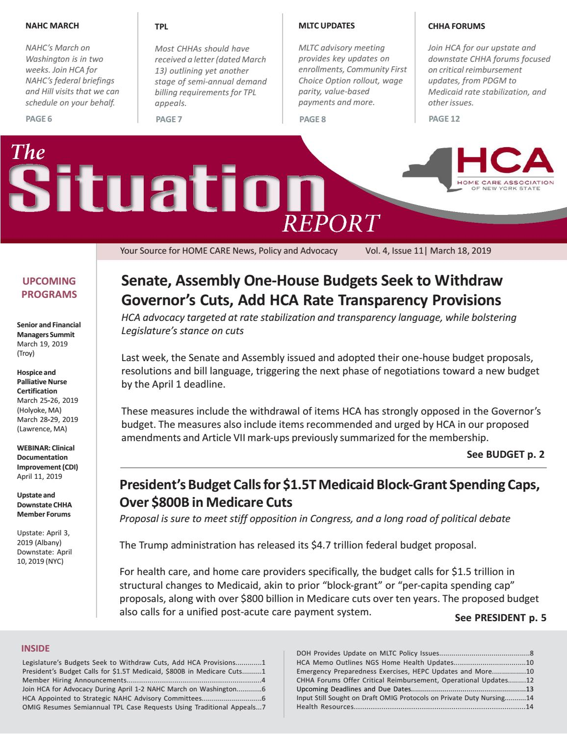 March 18, 2019 Edition of The Situation Report by Home Care