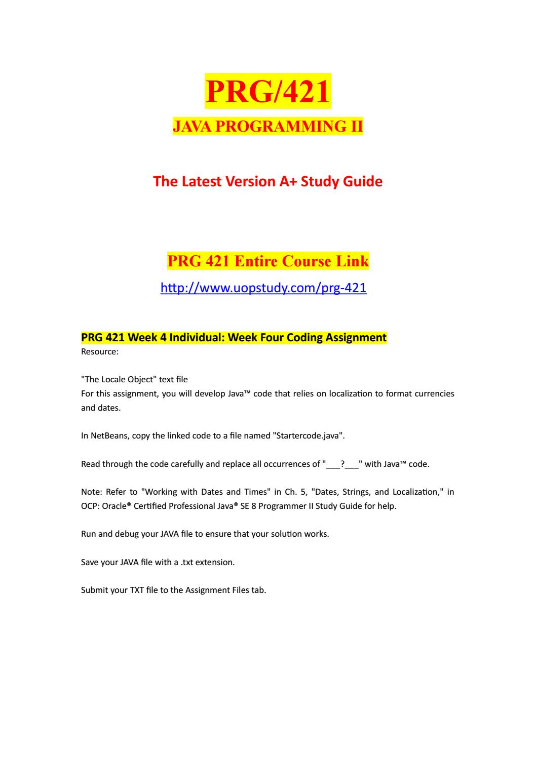 PRG 421 Week 4 Individual Week Four Coding Assignment - uopstudy com