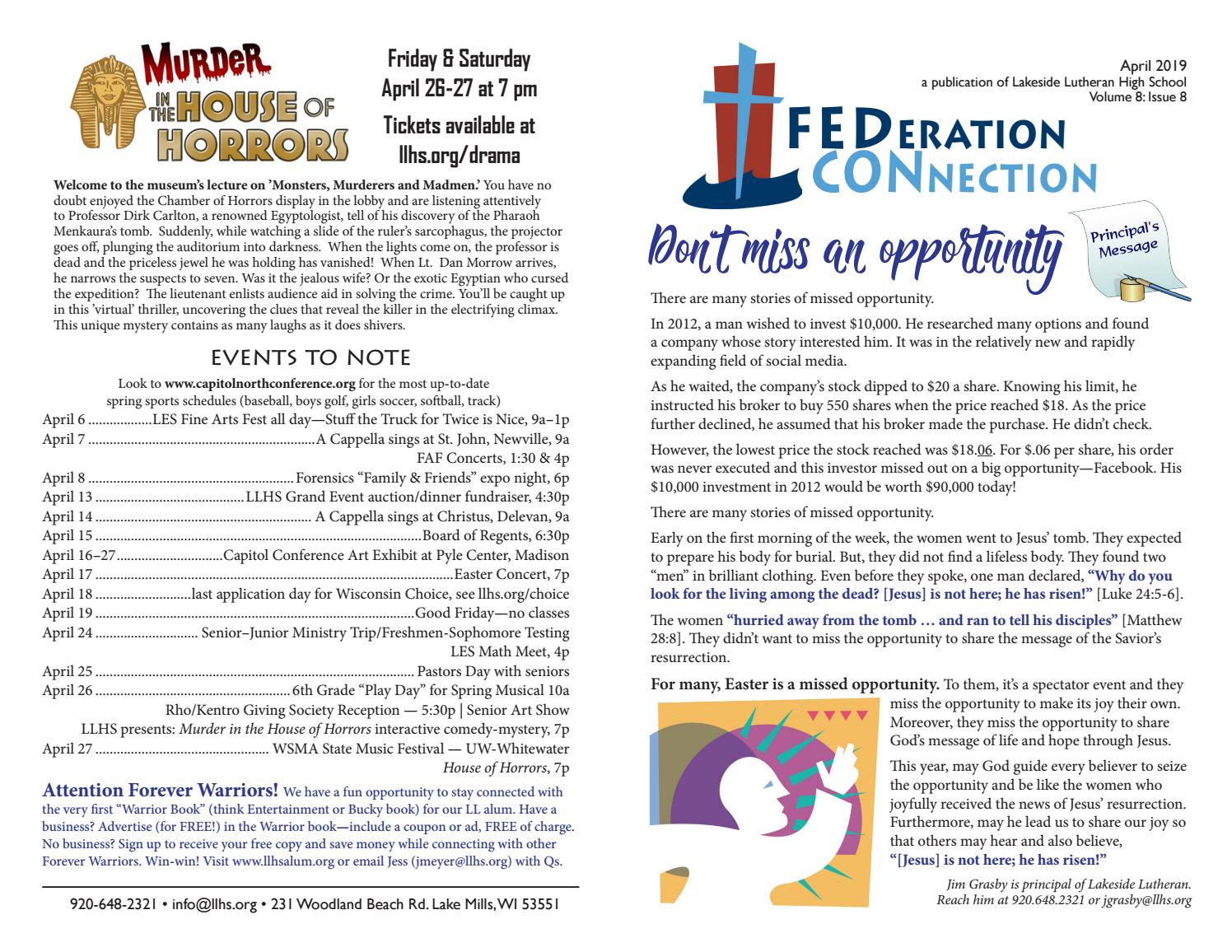 Lakeside Lutheran Federation Connection April 2019 by LLHS