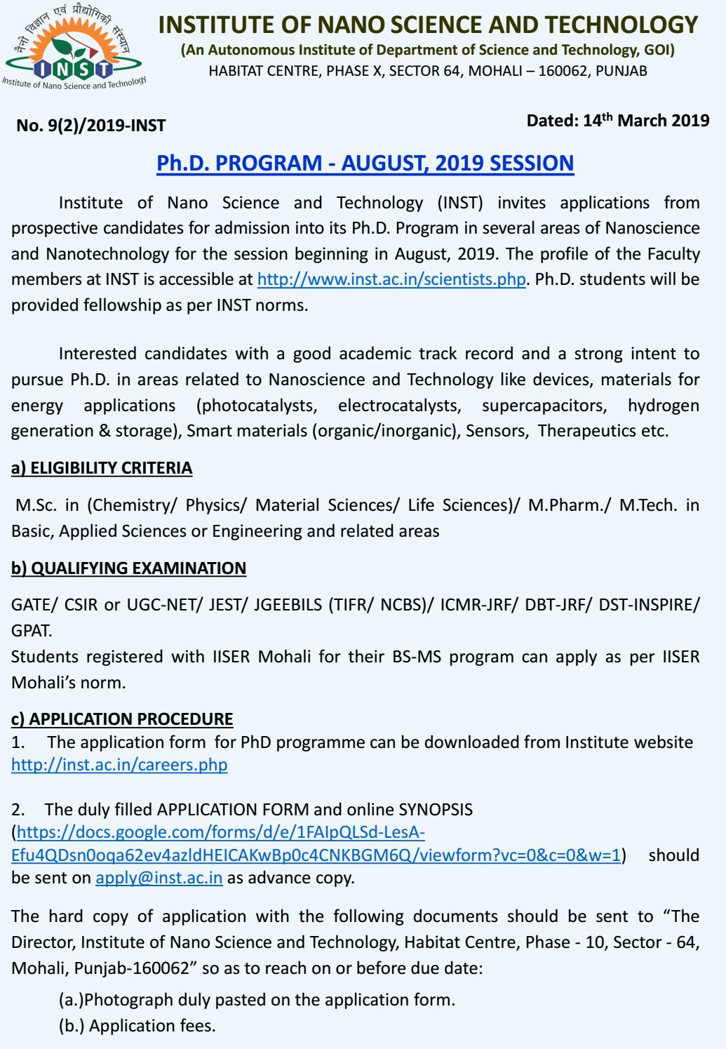 INST Phd Programme - August, 2019 Session: Application