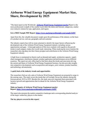 Airborne Wind Energy Equipment Market Size, Share