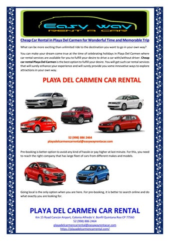 Cheap Car Rental In Playa Del Carmen For Wonderful Time And