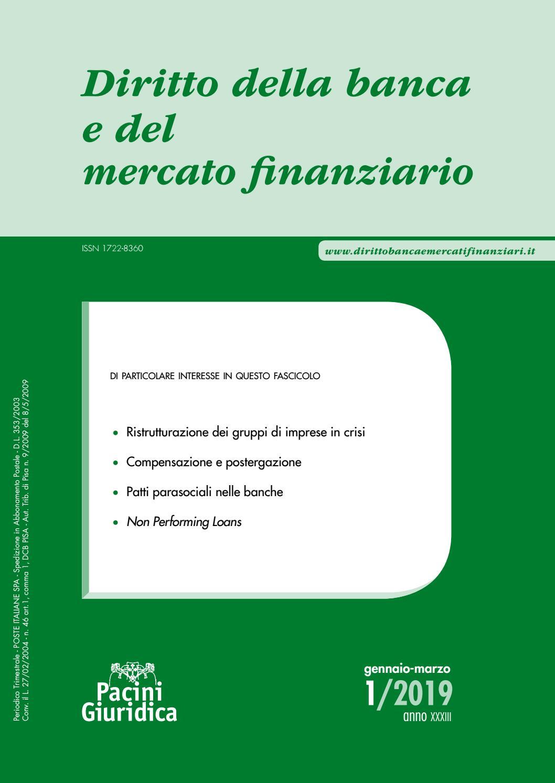 Diritto della banca e del mercato finanziario 1/2019 by
