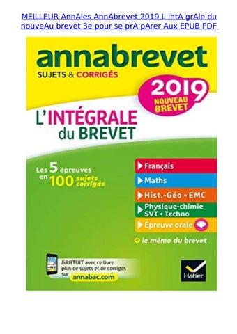 Meilleur Annales Annabrevet 2019 L Inta Grale Du Nouveau