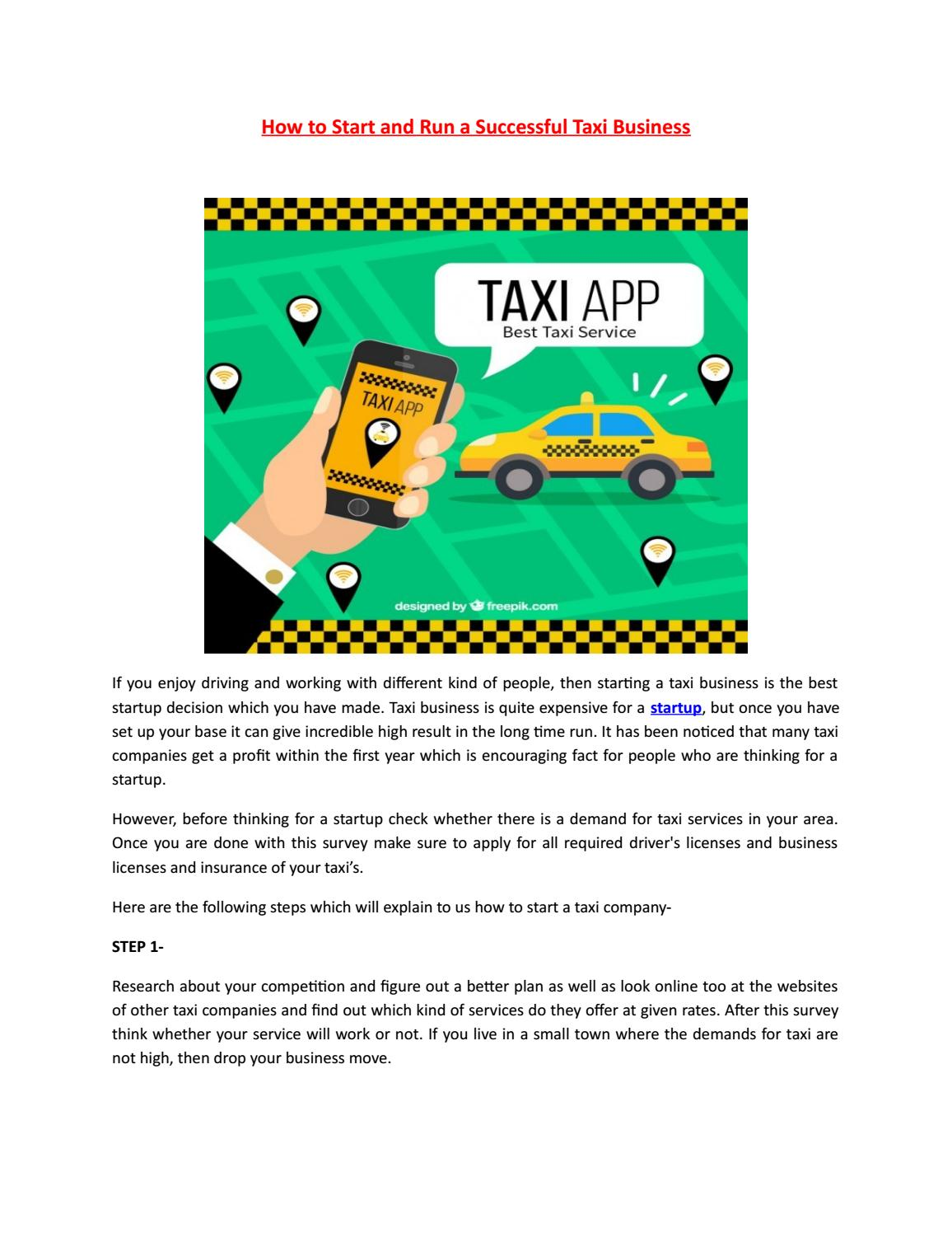 How to Start and Run a Successful Taxi Business by Webs