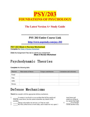 PSY 203 Week 4 Review Worksheet By Uopx008