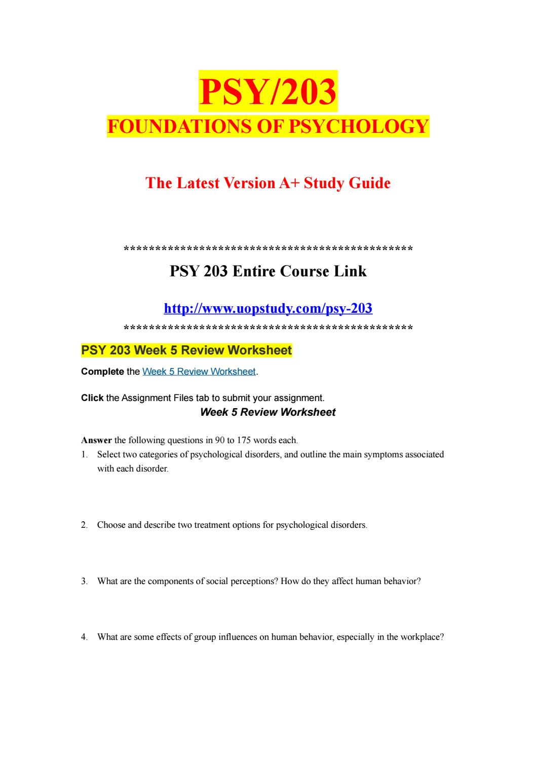Psy 203 Week 5 Review Worksheet Uopstudy Com By Uopx008 Issuu