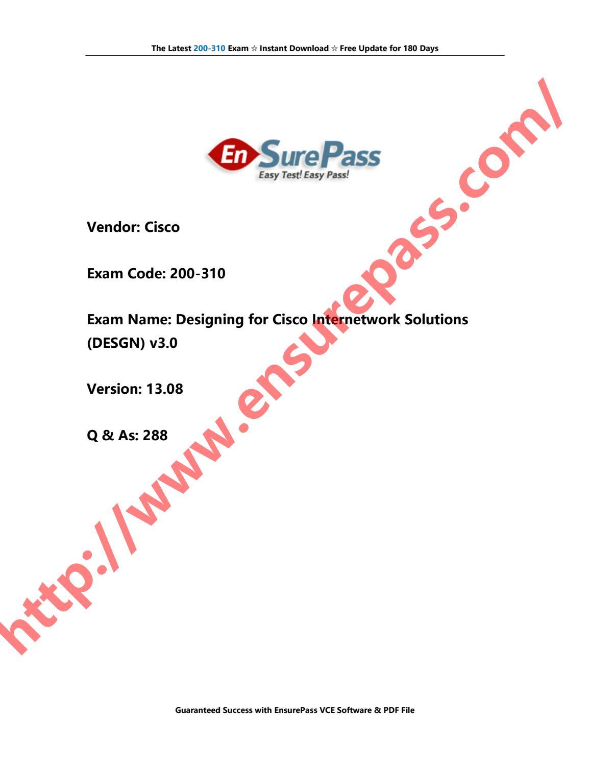 Ensurepass Cisco 200-310 Exam Dumps and PDF by