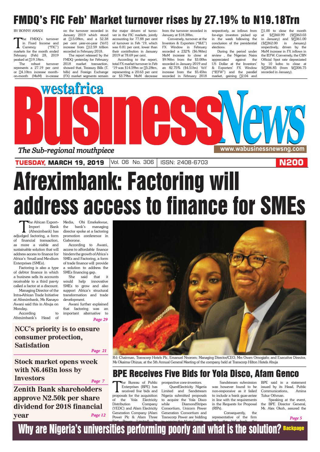 Westafrica BusinessNews Tuesday, March 19, 2019 by