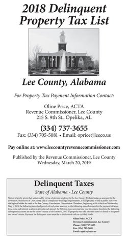 2018 Lee County Delinquent Tax List - 1st Run by OpelikaObserver - issuu