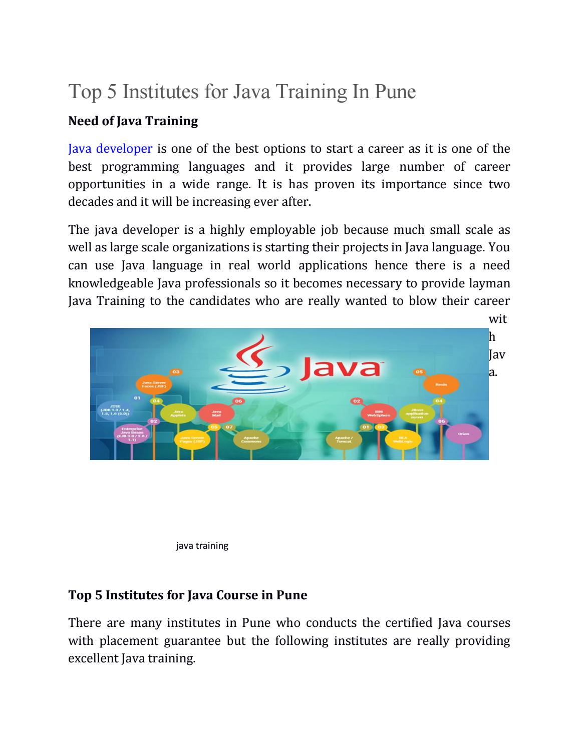 Top 5 Institutes for Java Training In Pune by