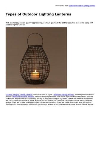 Types Of Outdoor Lighting Lanterns By Indecraft Issuu