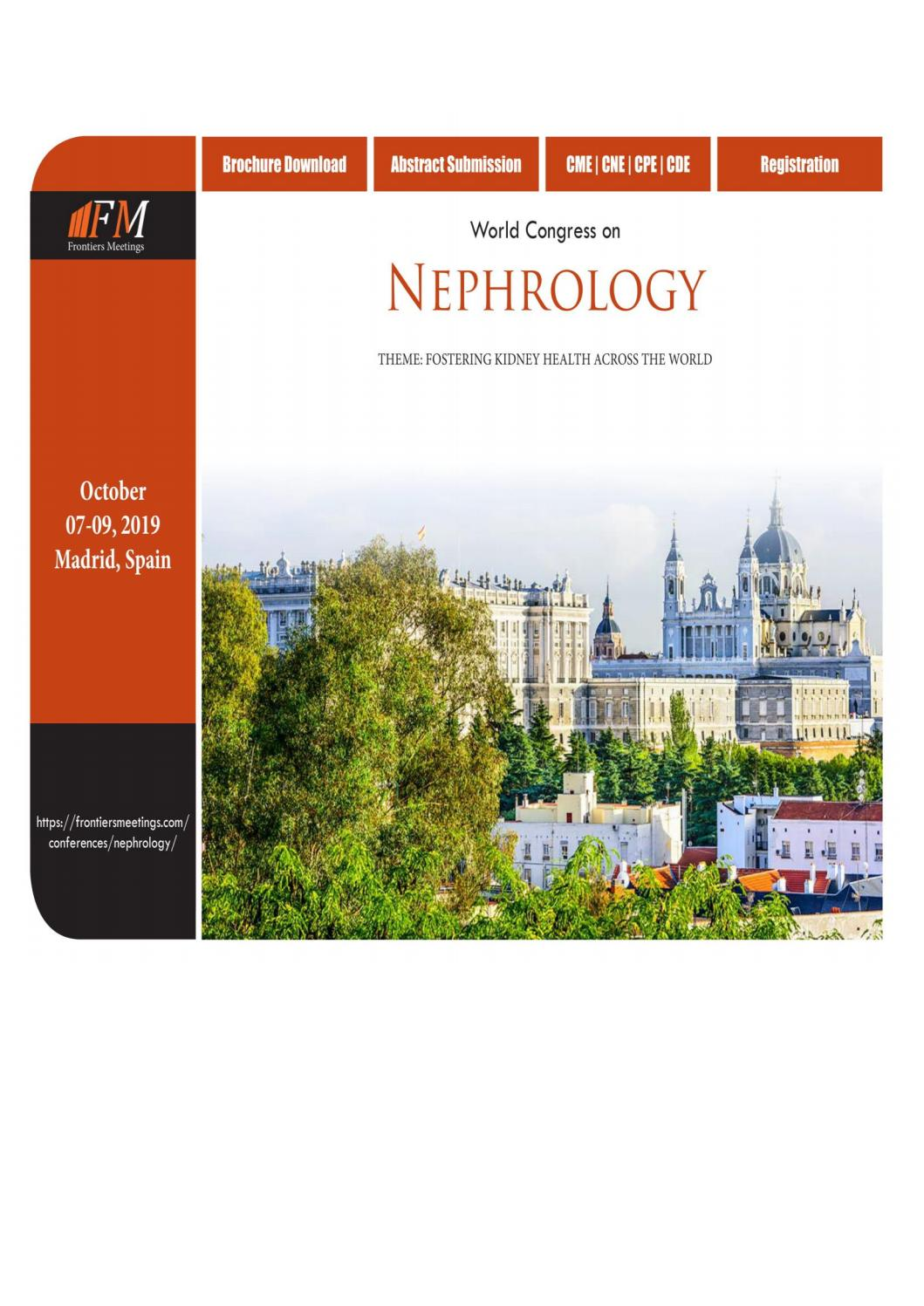 World Congress on Nephrology Spain October 07-09, 2019 by