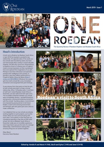 One Roedean, March 2019 Issue 1 by Roedean School - issuu