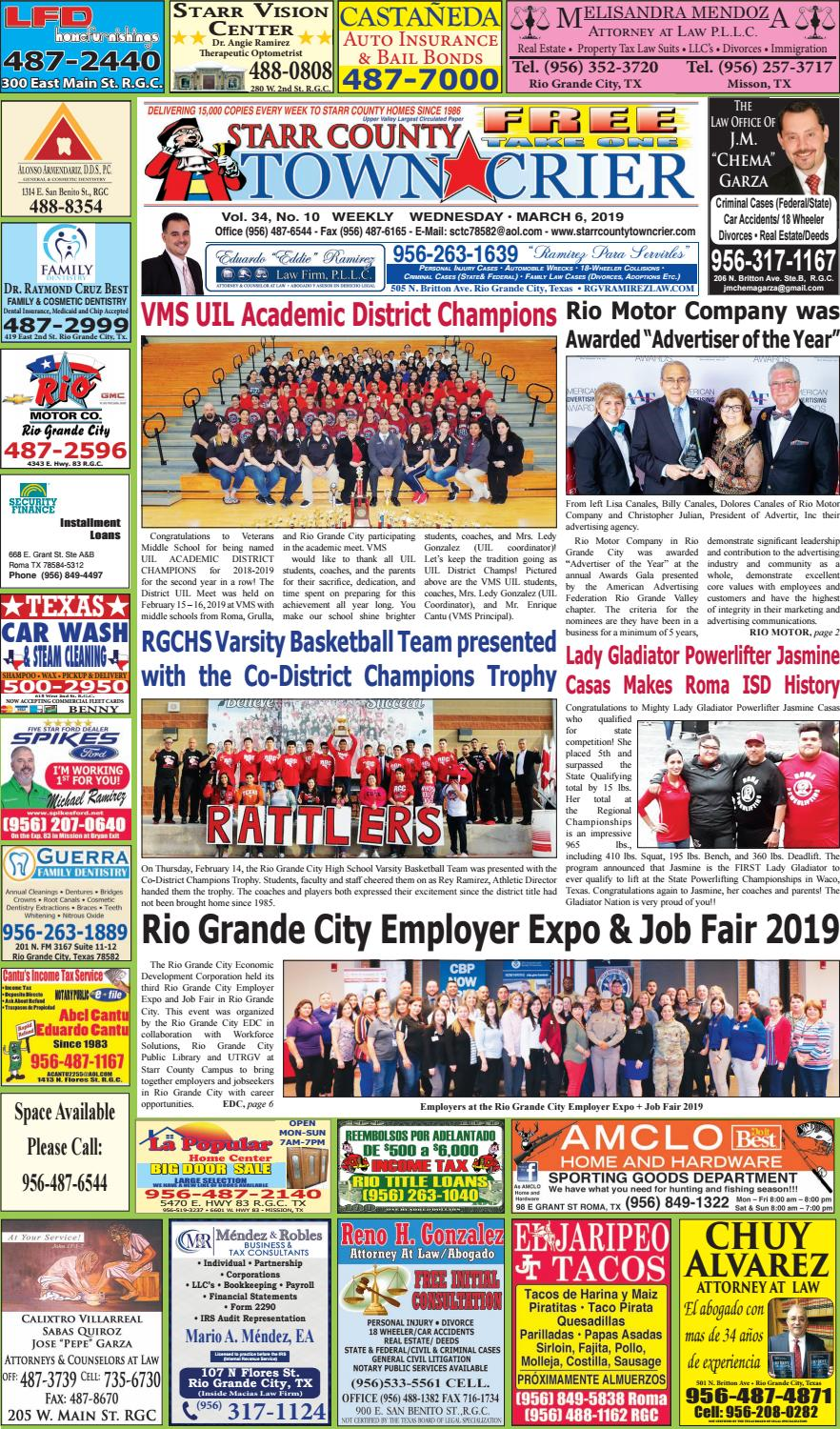 MARCH 6, 2019 by Starr County Town Crier - issuu