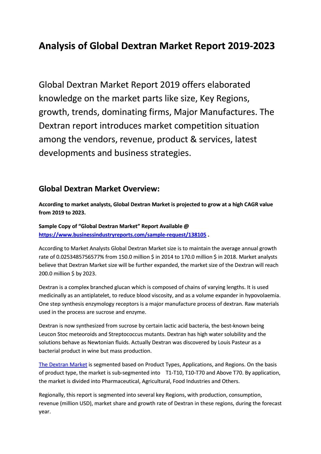 Global Dextran Market Report 2019-2023 by