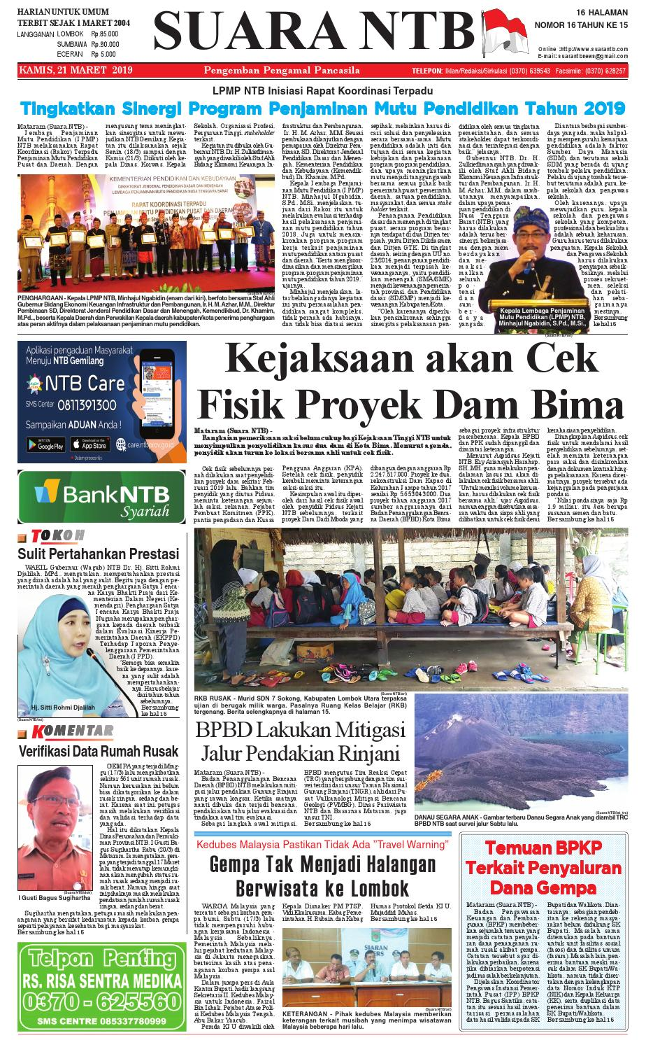 Edisi Kamis 21 Maret 2019 | Suara NTB by e-Paper KMB - issuu