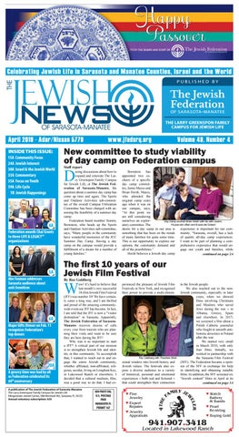 The Jewish News - April 2019 by The Jewish Federation of Sarasota