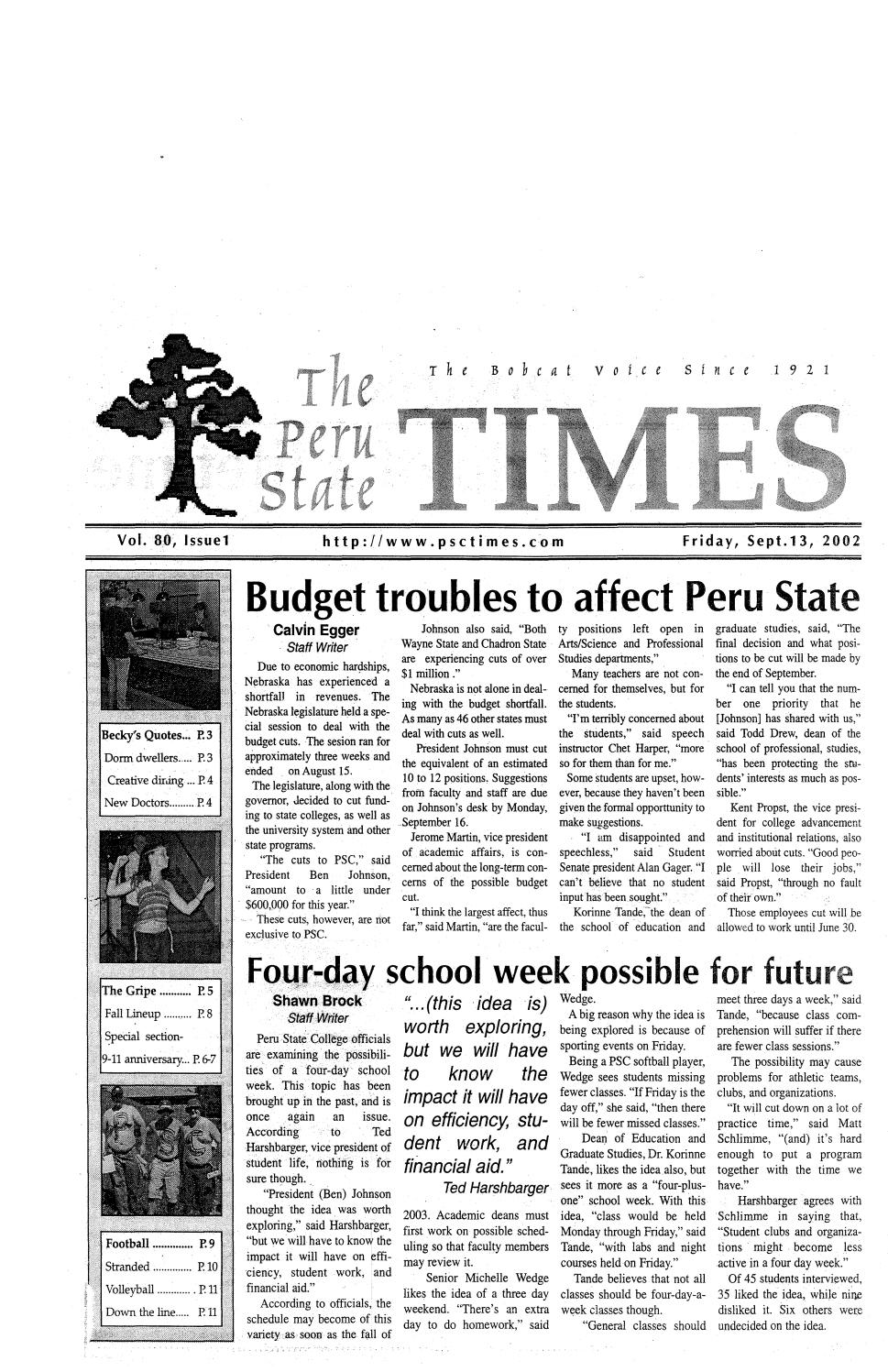 2002-2003 The Times (Peru, NE) - issues 1-11 by Peru State College Library  - issuu