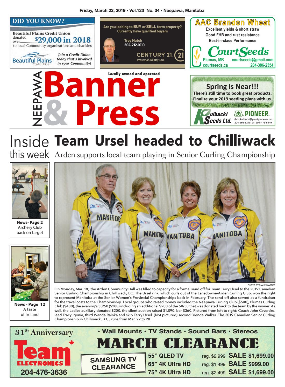 Friday March 22 2019 Neepawa Banner Press By Neepawa