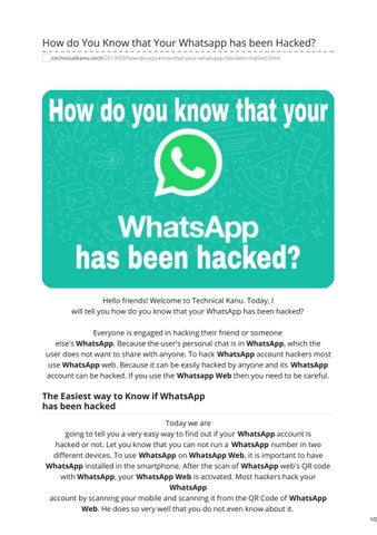 How do You Know that Your Whatsapp has been Hacked by