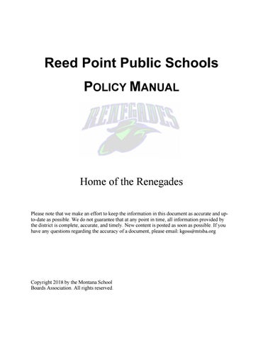 Reed Point Public Schools Policy Manual