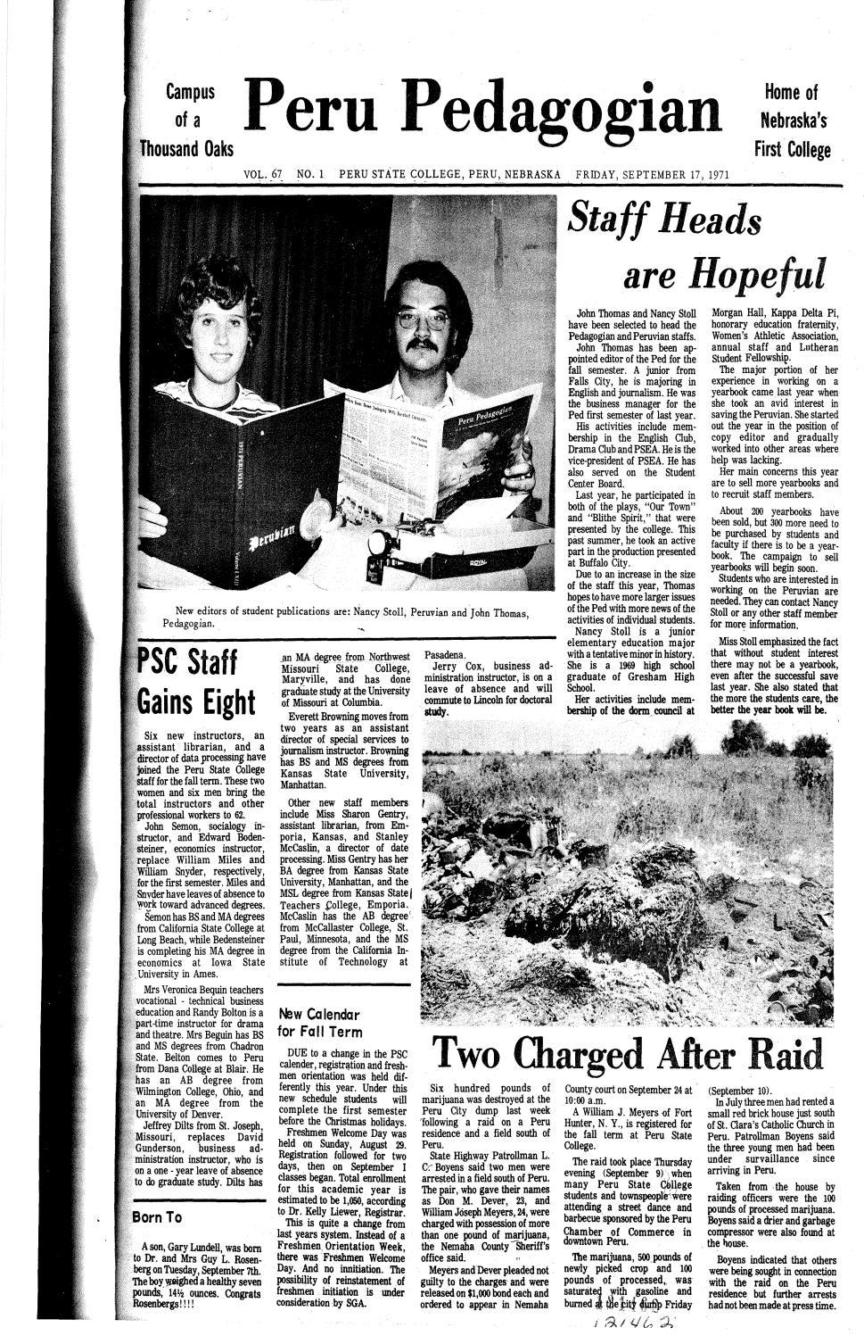 1971-1972 Peru Pedagogian - issues 1-25 by Peru State College