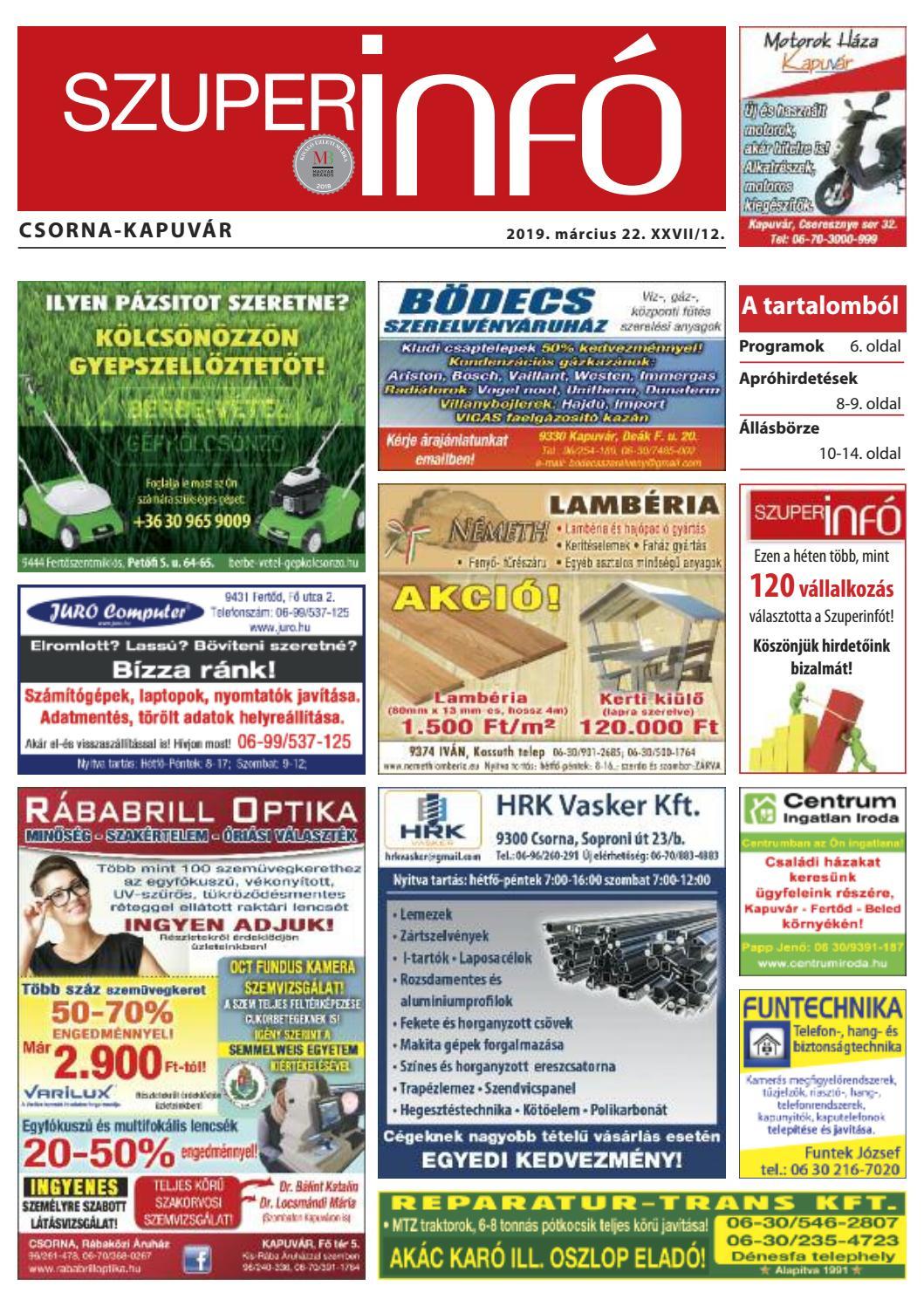 ef1a8d5609b4 Csorna-Kapuvár Szuperinfó 12. hét by Info Rbakoz - issuu