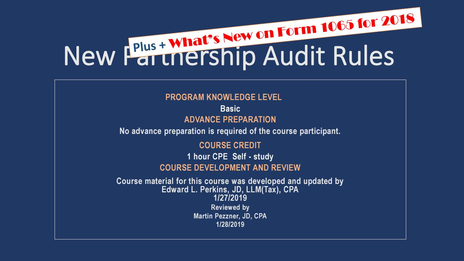 New Partnership Audit Rules 2019 By Gibson Perkins Pc Issuu