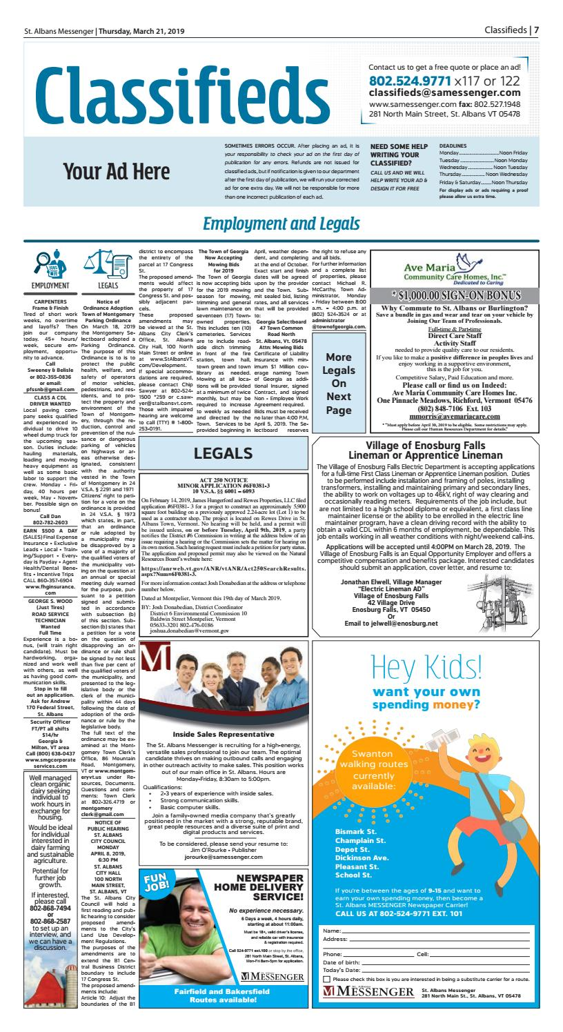 03/21/19 Classifieds by St  Albans Messenger - issuu