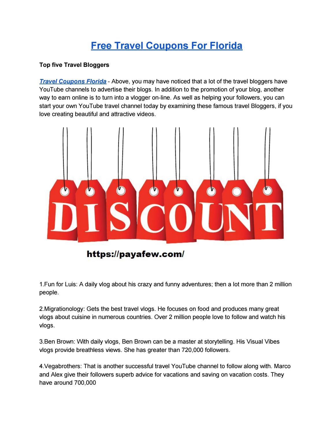 discount travel coupons florida