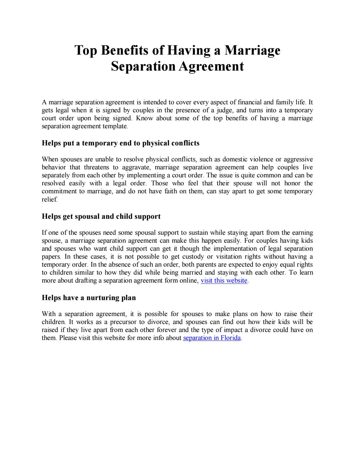 Top Benefits Of Having A Marriage Separation Agreement By