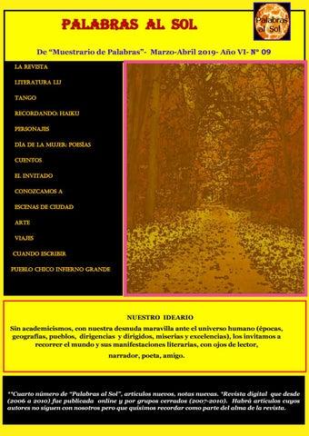 """f82df7a93 De """"Muestrario de Palabras""""- Marzo-Abril 2019- Año VI- Nº 09 La revista  Literatura lij TANGO RECORDANDO: HAIKU PERSONAJES DÍA DE LA MUJER: POESÍAS  Cuentos ..."""