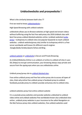 Unblockwebsite and proxywebsite ! by iptv4sat - issuu