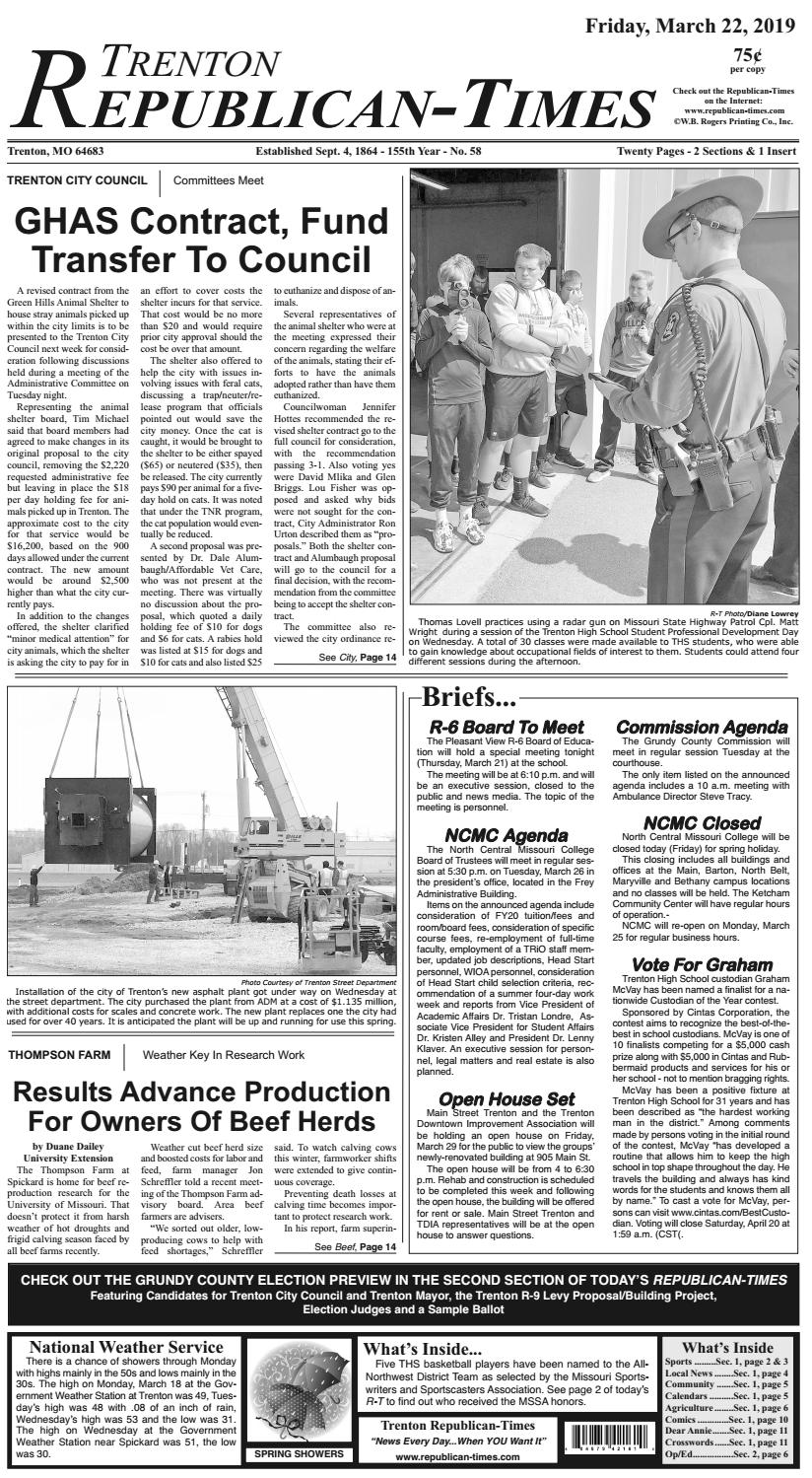 Trenton Republican-Times 3-22-19 by Gallatin Publishing