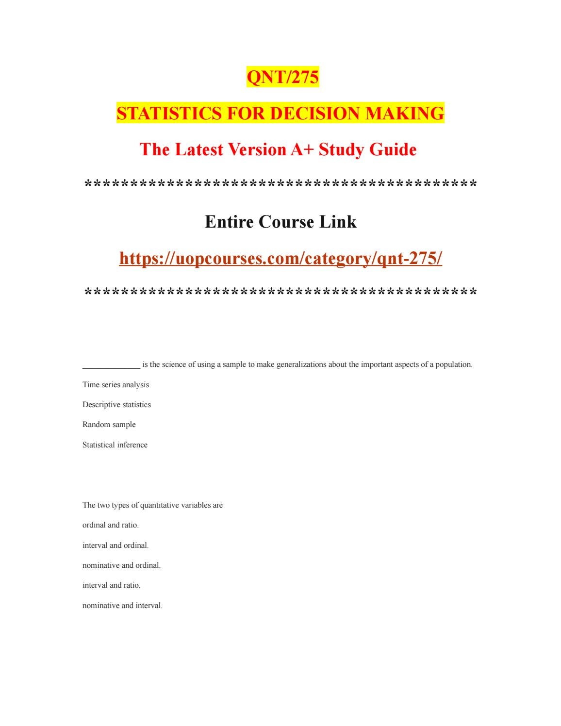 QNT 275T Entire Course - uopcourses com by uopx009 - issuu