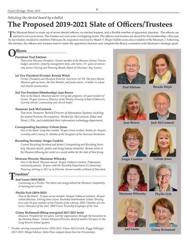Page 6 of The Proposed 2019-2021 Slate of Officers/Trustees