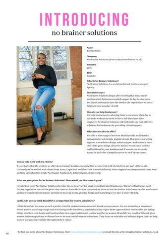 Page 16 of Introducing No Brainer Solutions