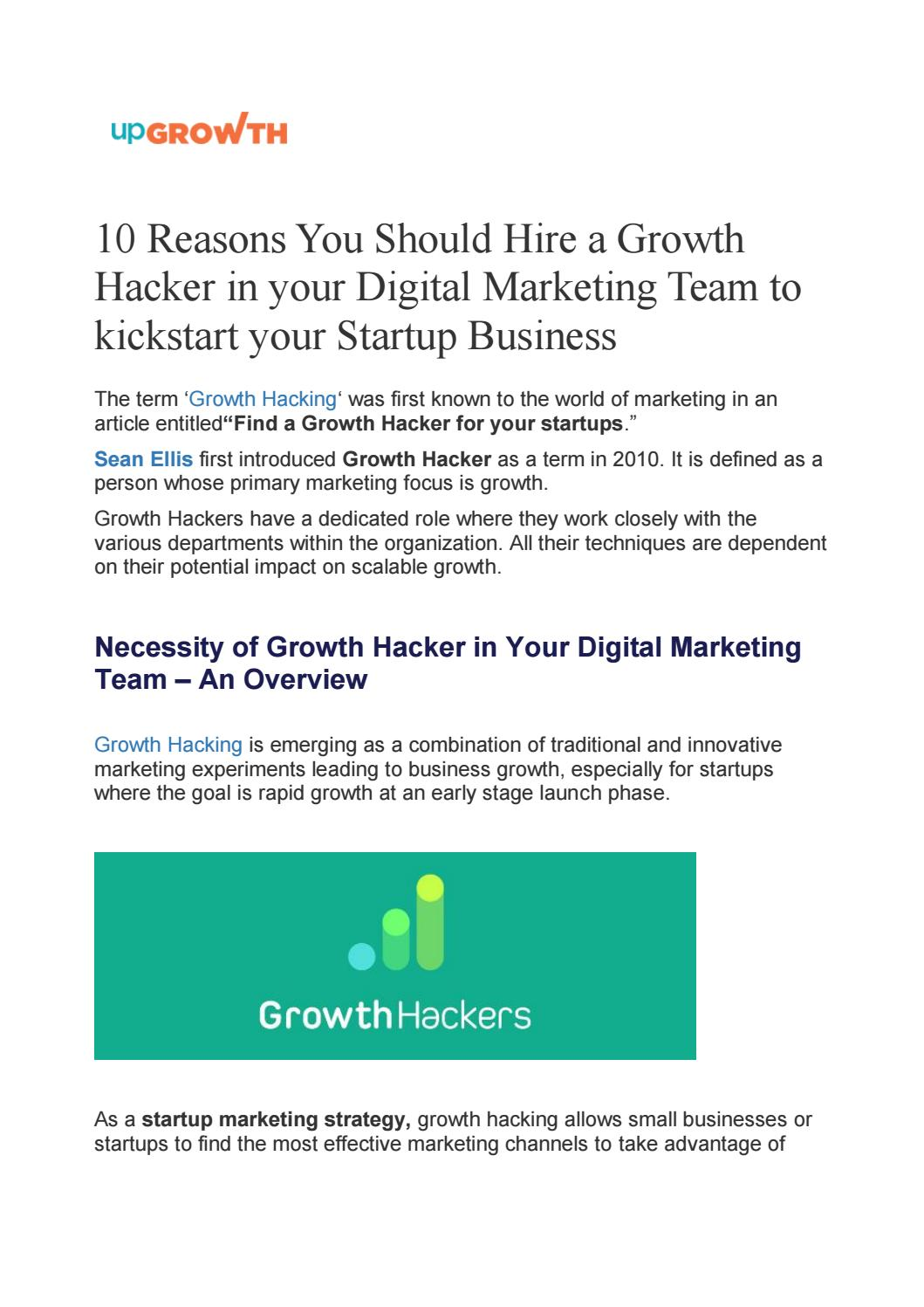 10 Reasons You Should Hire a Growth Hacker in your Digital