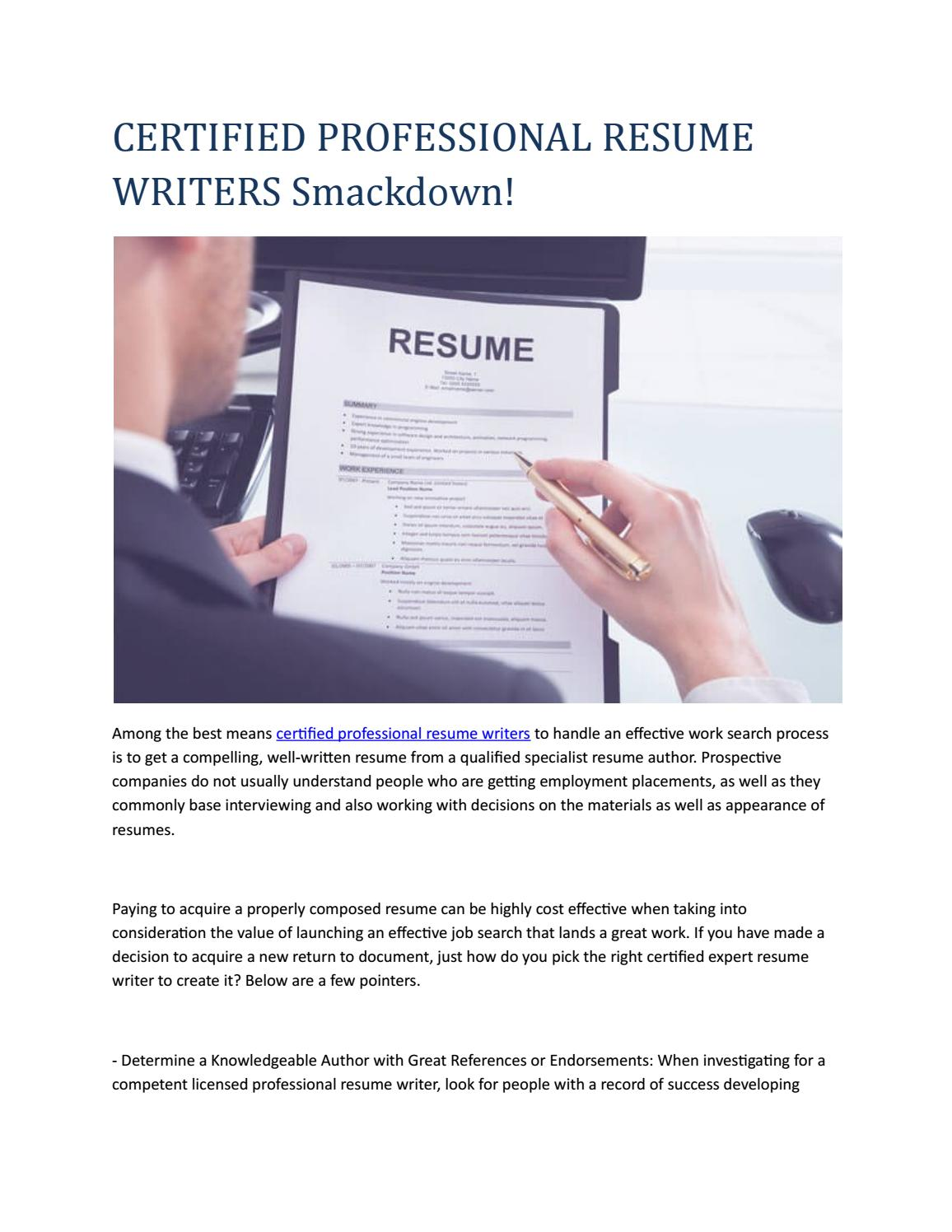 Certified Professional Resume Writers By Amyjustice00 Issuu