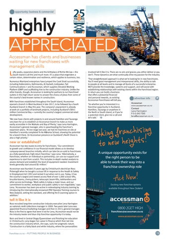 Page 13 of Highly Appreciated Accessman has clients waiting for new franchisees with management skills