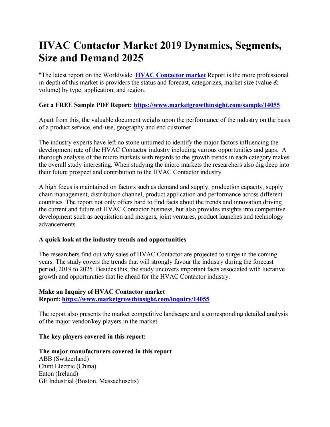 HVAC Contactor Market 2019 Dynamics, Segments, Size and