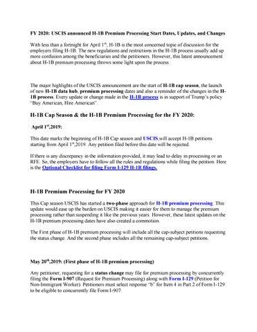 H1b 2020 News
