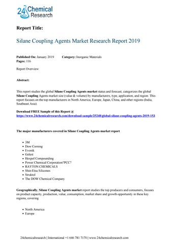 Silane Coupling Agents Market Research Report 2019 by ridhima malik