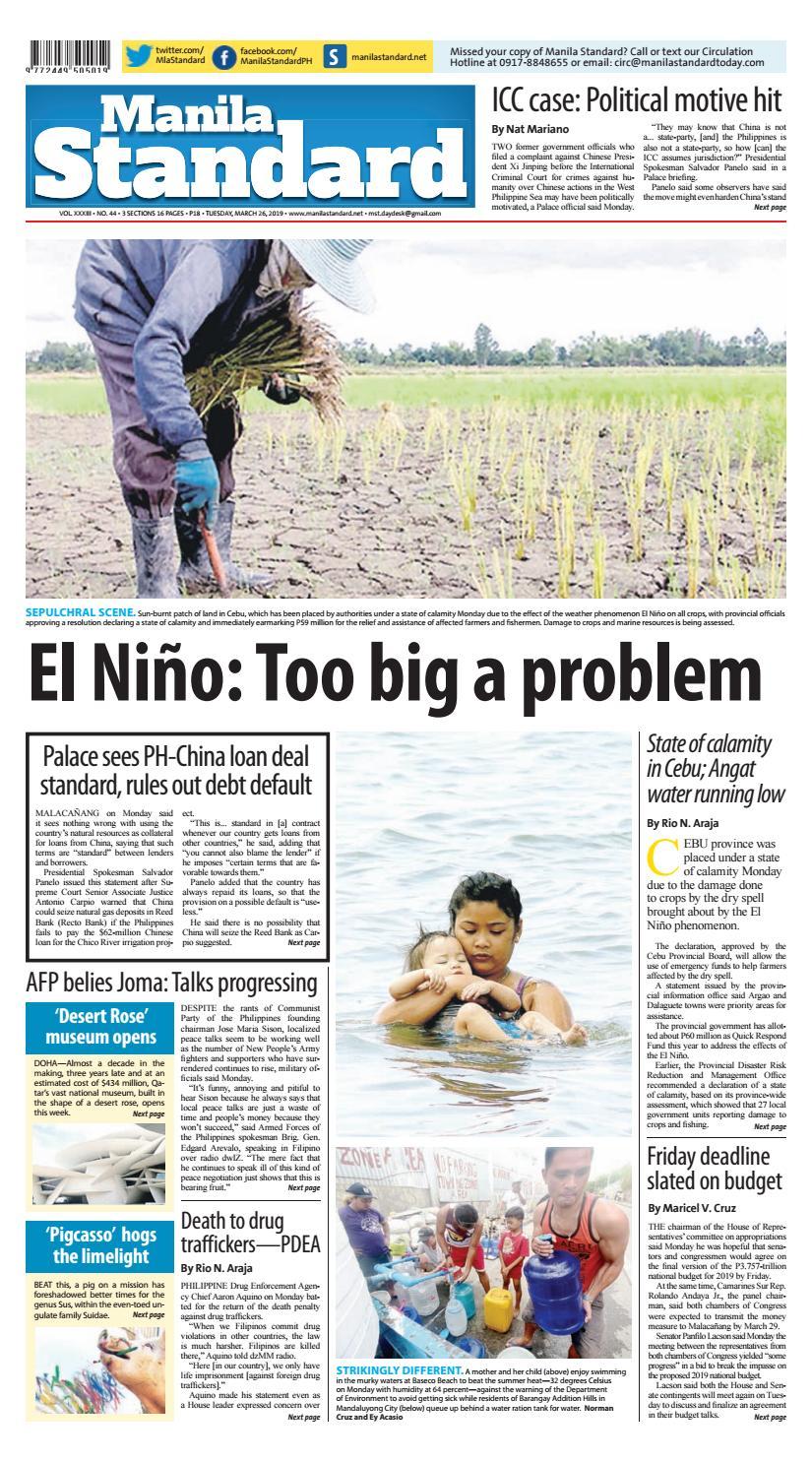 Manila Standard 2019 March 26 Tuesday by Manila Standard