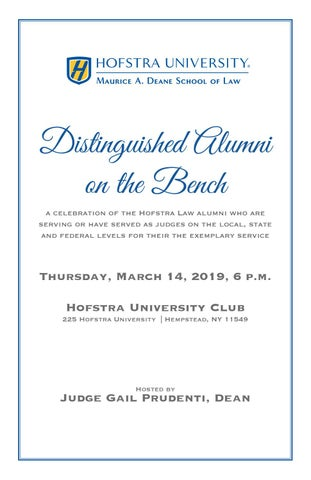 Distinguished Alumni on the Bench 2019 by Hofstra Law - issuu