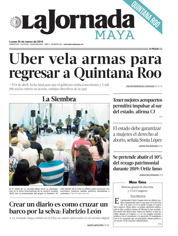 8ebe0a4bf7 La Jornada Maya · lunes 25 de marzo de 2019 by La Jornada Maya - issuu