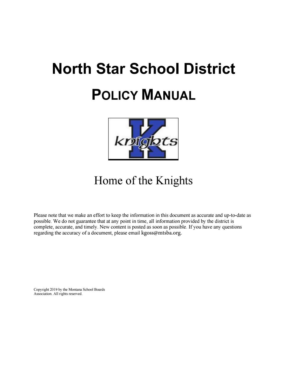 North Star Public Schools Policy Manual by Montana School